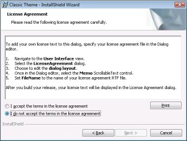 License Agreement Dialog
